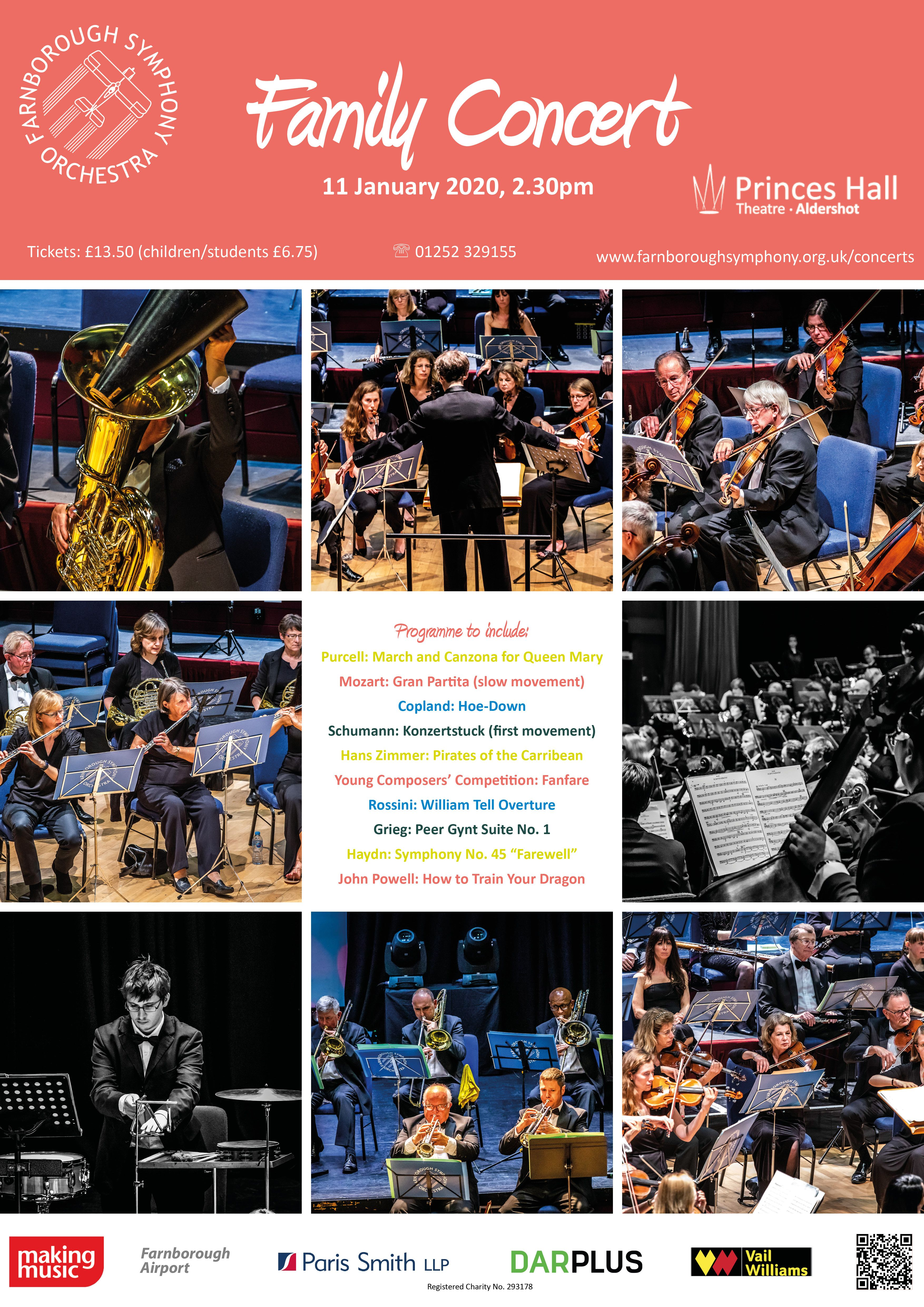 Flier for family concert showing pictures of orchestras playing