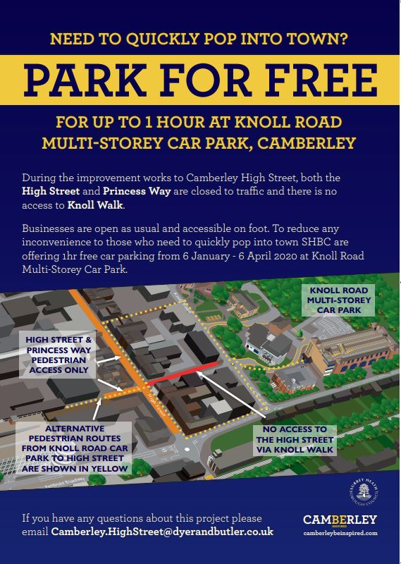 Free parking in Knoll Road car park poster from 6 Jan 2020