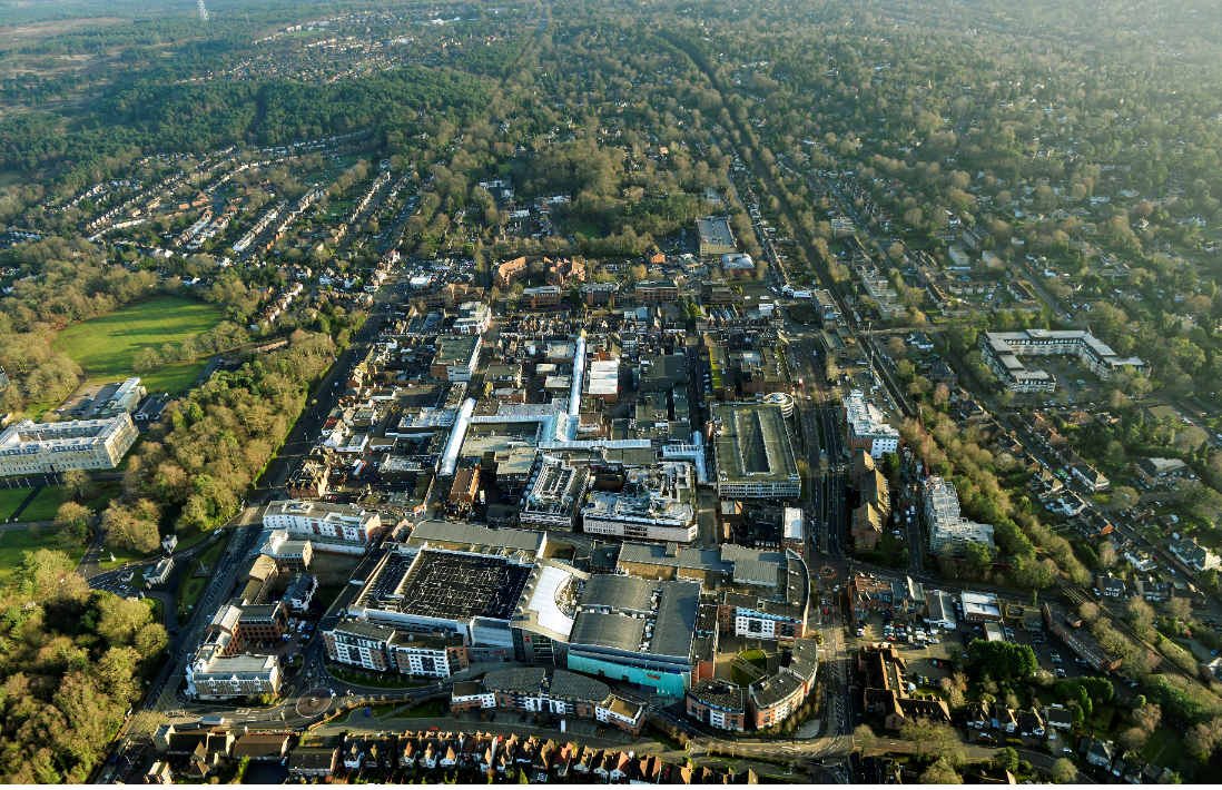 Picture of Camberley town centre from above