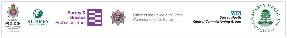 Surrey Police logo, Surrey County Council logo, Surrey and Sussex Probation Trust logo, Surrey Police logo, Office of the Police and Crime Commissioner for Surey logo, NHS Surrey Heath logo and Surrey Heath Borough Council logo