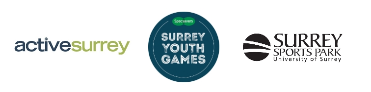 Active Surrey, Specsavers Surrey Youth Games and Surrey Sports Park Logos