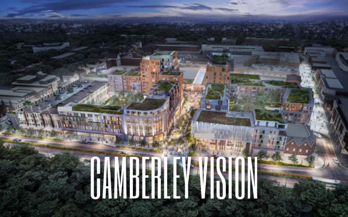 CGI artist impression aerial view of Camberley (decorative image)
