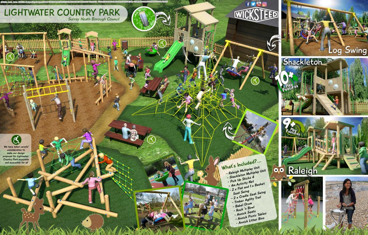 An artist's impression of the new playground at Lightwater Country Park