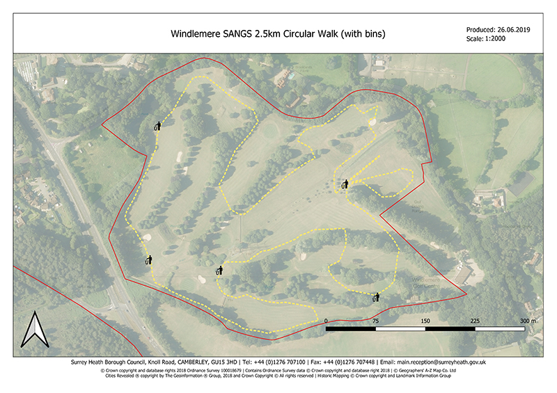 Windlemere SANG map of 2.5km circular walk